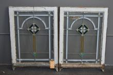 Lot of Two American Bungalow Leaded Window