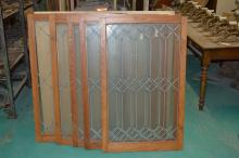 Set of 5 Leaded Glass Windows, Assorted Sizes