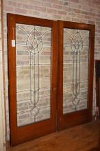 Pair of Oalk & Beveled Glass French Doors