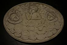 Argentine Three Angel Carved Marble Panel
