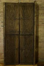 Pair of Peruvian Heavy Carved Doors