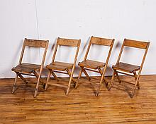 Set of Four Vintage Wooden Folding Chairs