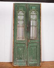 Wood Double Doors with Iron Grills