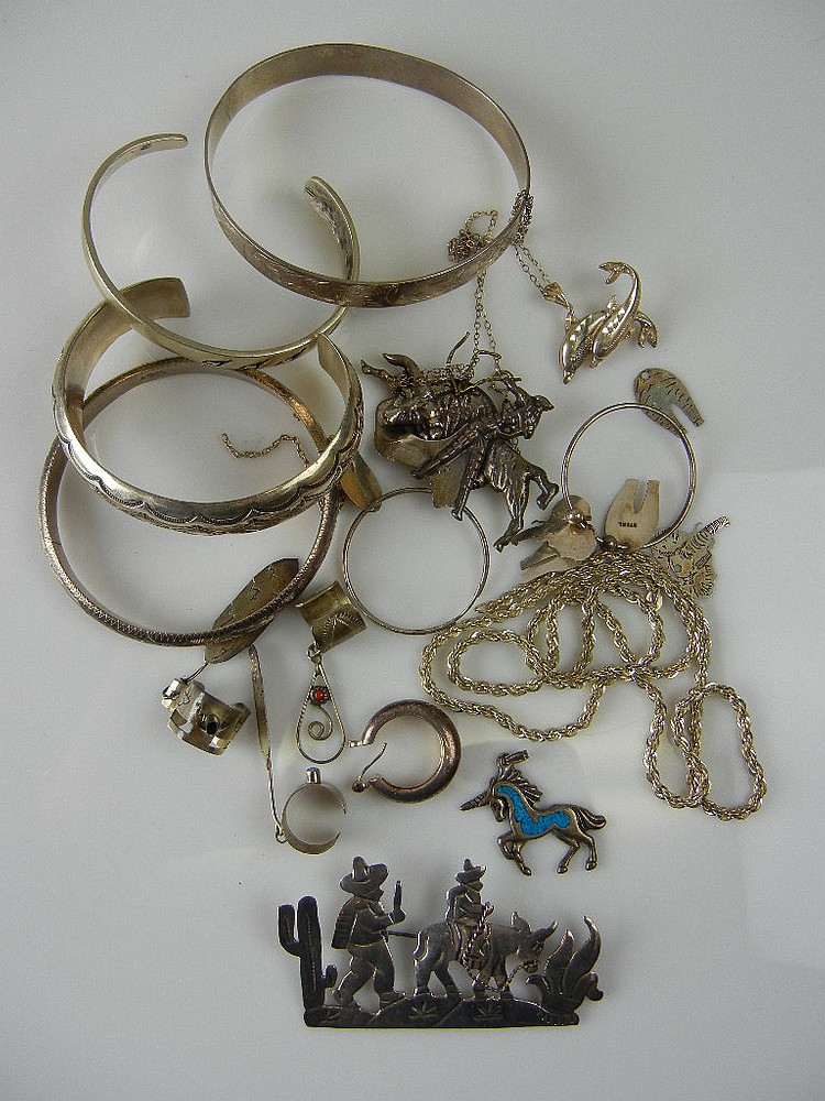 Sterling Silver Jewelry Lot, 4.12oz