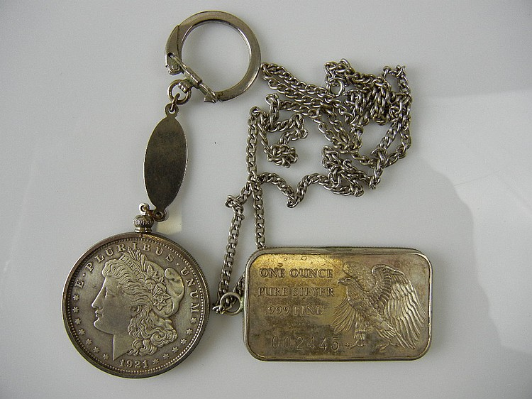 1oz Silver Bar and 1921 Morgan Dollar, Both in Bezel w/ Chains