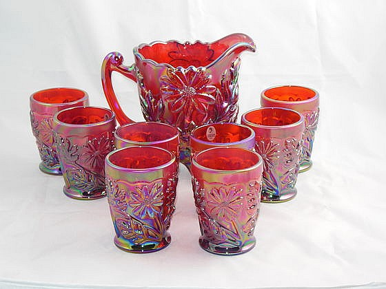 Fenton Founder's Water Set, 8 Tumblers, 1 Pitcher, Carnival Glass