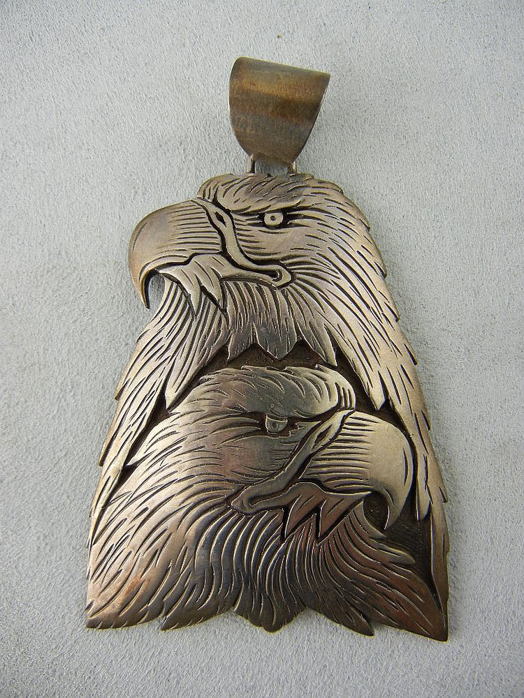 Sterling Silver Eagle Pendant Signed Charley