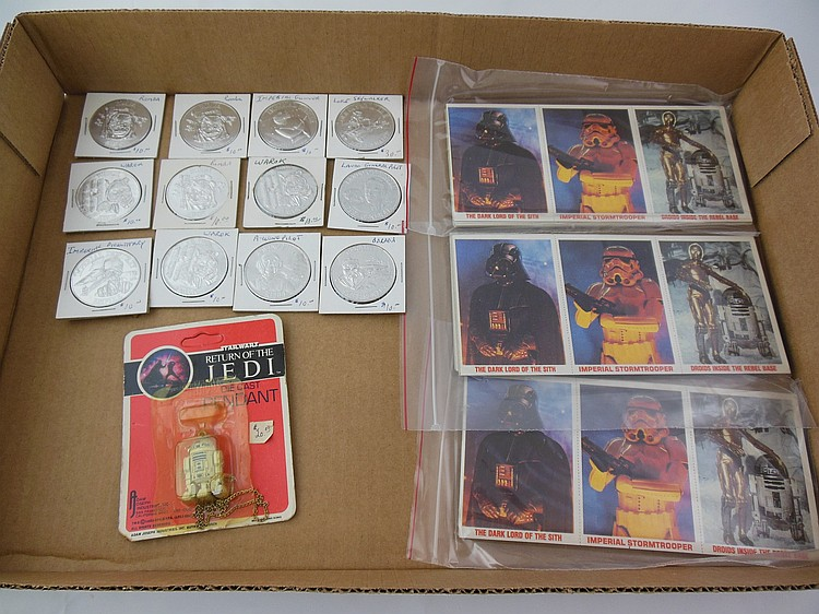Assorted Star Wars Coins, Cards, and Pendant