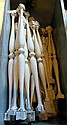 Tote of wooden spindles painted white, various sizes, no tote
