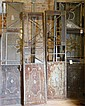 4 pieces, 2 sets, Argentinean wrought iron glass door panels, most glass broken, great frames for restoration