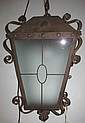 Argentinean Hanging Wrought Iron Fixture w/Glass Panels, 51