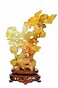 A YELLOW JADE SIX DRAGON STATUE Mid 20th Century Very good condition.
