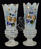 A PAIR OF ANTIQUE BRISTOL GLASS VASES