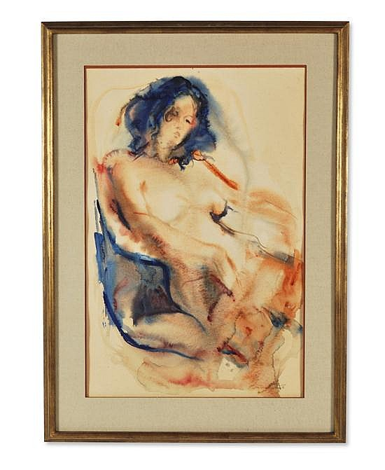 BARRINGTON WATSON, (Jamaican, b. 1931), Nude, watercolor, Signed lower right
