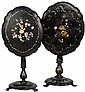 A PAIR OF CHARMING ANTIQUE VICTORIAN INLAID PAPIER MACHE SIDE TABLES