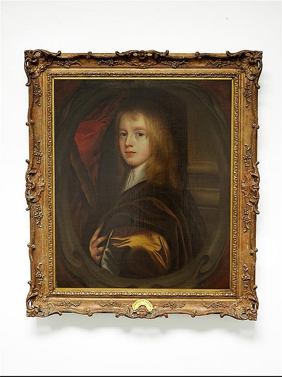 Circle of William Dobson (1611-1646) Portrait of a Young Man Bust Length, Wearing a Gold Coat In a Painted Oval Cartouche Oil on Can...