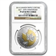 2013 Silver Can. 25th Anniv of the Maple - Gilded PF-69