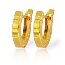 14K. SOLID GOLD OVAL HOOP HUGGIE EARRING