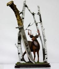 STAINLESS STEEL HUNTING KNIFE W/ DEER STATUTE DISPLAY STAND