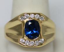14K GOLD PLATED BLUE CZ MENS RING