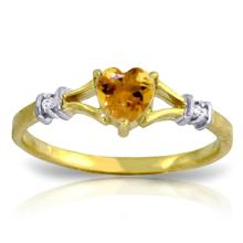 14K. SOLID GOLD RINGS WITH NATURAL DIAMONDS & CITRINE
