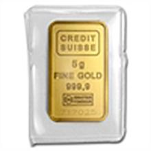 5 gram Statue of Liberty Credit Suisse Gold Bar .9999 F