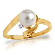 14K. SOLID GOLD RING WITH NATURAL DIAMOND & PEARL
