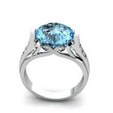 Genuine 6.09 ctw Topaz Ring 18k W/Y Gold