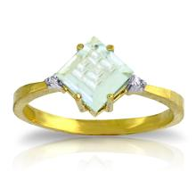 14K. SOLID GOLD RING WITH DIAMONDS & AQUAMARINE