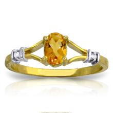 14K. SOLID GOLD RING WITH NATURAL DIAMONDS & CITRINE