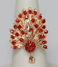 FASHION JEWELRY RED CZ PEACOCK SHAPED BRASS RING