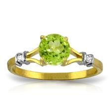 14K. SOLID GOLD RING WITH NATURAL DIAMONDS & PERIDOT