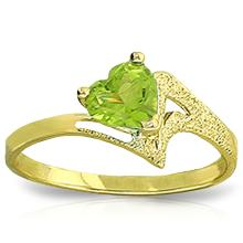 14K. SOLID GOLD RING WITH NATURAL PERIDOT