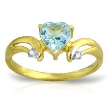 14K. SOLID GOLD RING WITH DIAMONDS & BLUE TOPAZ