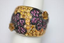 4.62 CTW CITRINE & PINK TOURMALINE RING .925 STERLING S