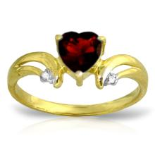 14K. SOLID GOLD RING WITH DIAMONDS & GARNET