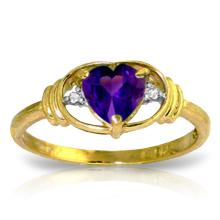 14K. SOLID GOLD RING WITH NATURAL DIAMONDS & AMETHYST