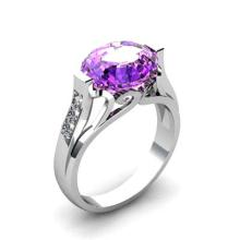 Genuine 4.59 ctw Amethyst Ring 14k W/Y Gold
