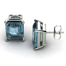 Genuine 4.8 ctw Topaz Earring 14k W/Y Gold