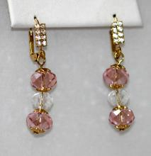 14K GOLD PLATED PINK CZ DANGLING EARRINGS