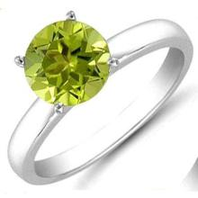 Peridot 1.11 ctw Solitaire Ring 14kt W/Y Gold