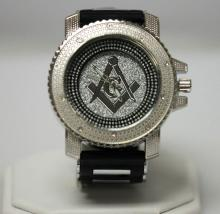 MODERN SILVER AND BLACK MASONIC WATCH WITH BLACK STRAP