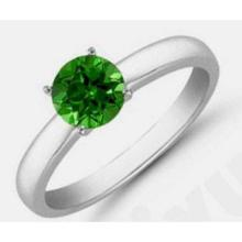 Green Tourmaline 0.75 ctw Solitaire Ring 14kt W/Y Gold