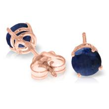 14K. SOLID GOLD STUD EARRINGS WITH NATURAL SAPPHIRES