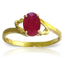 14K. SOLID GOLD RING WITH NATURAL RUBY