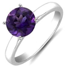 Amethyst 1.30 ctw Solitaire Ring 14kt W/Y Gold