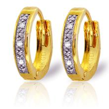 14K. SOLID GOLD HOOP HUGGIE EARRING WITH DIAMONDS