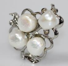 HEART SHAPE WHITE PEARL CZ BROOCH .925 STERLING SILVER