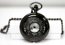 BLACK ANTIQUE STYLE POCKET WATCH W/FILIGREE DESIGN