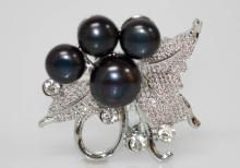 BLACK PEARL CZ BROOCH .925 STERLING SILVER